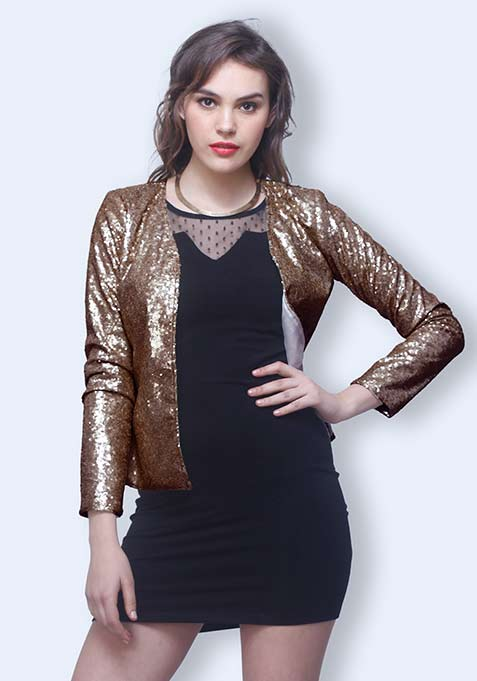 Sequin Power Blazer - Copper