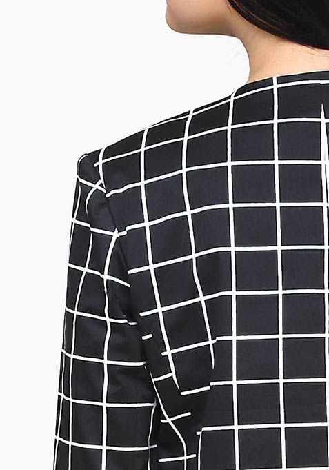 Polished Grid Blazer - Black
