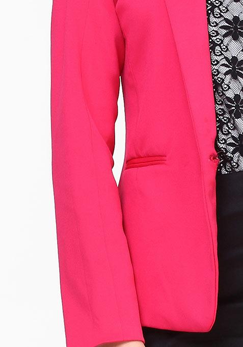Modern Muse Scuba Blazer - Pink