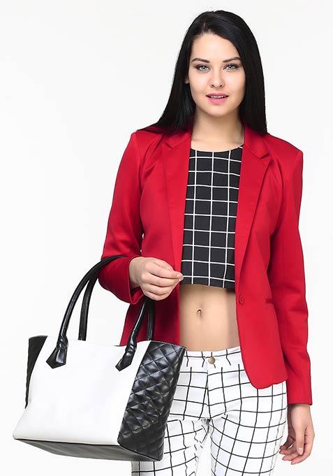 Modern Muse Scuba Blazer - Red