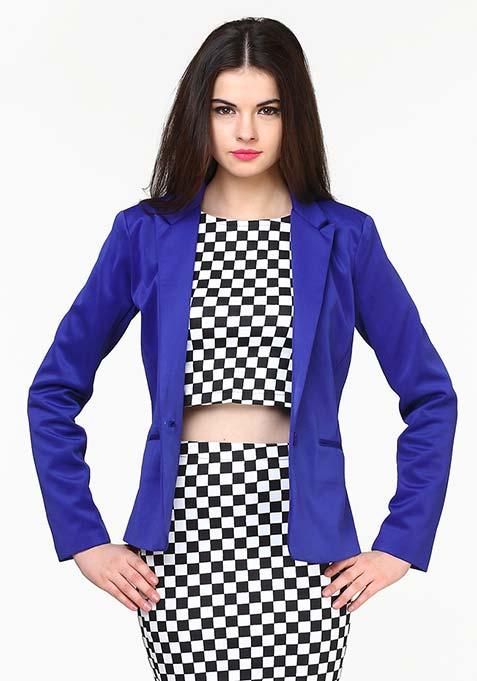 Modern Muse Scuba Blazer - Blue
