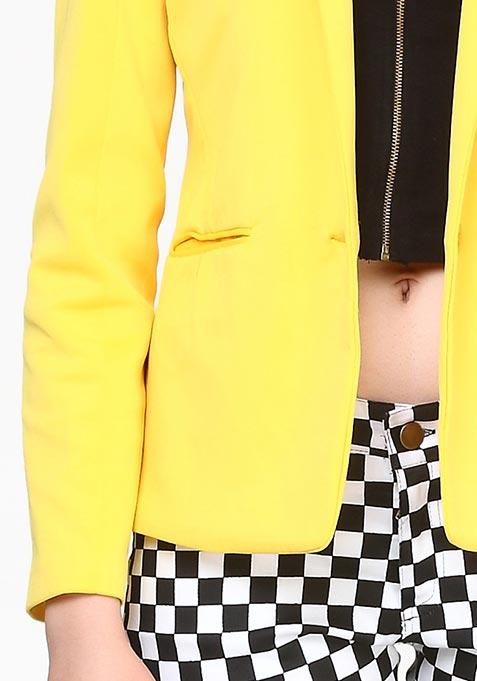 Modern Muse Scuba Blazer - Yellow