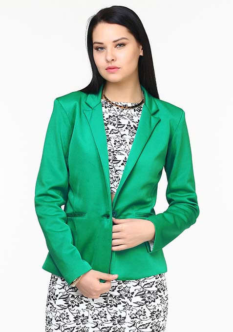 Modern Muse Scuba Blazer - Green