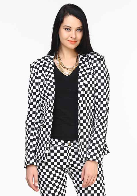 Checked In Monochrome Blazer
