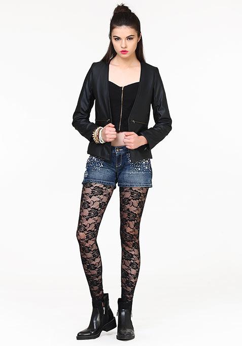 Tough Girl Leather Jacket - Black