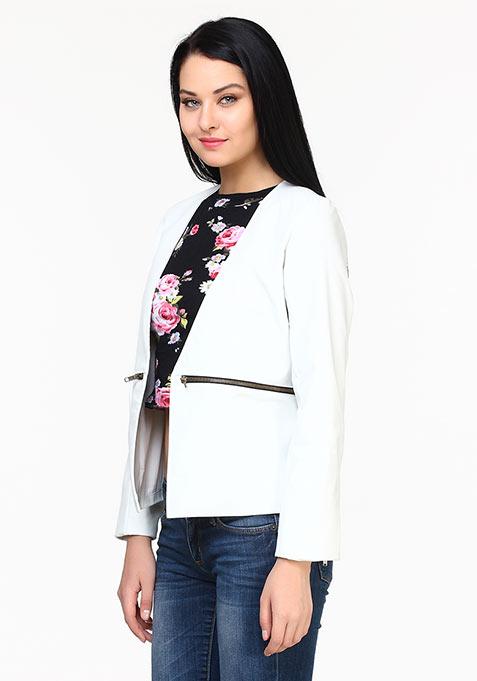 Tough Girl Leather Jacket - White