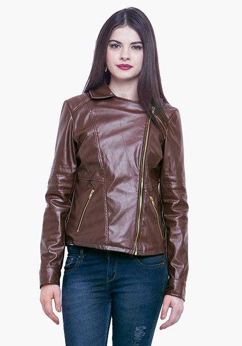 Leather Biker Jacket - Tan