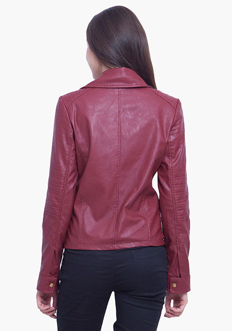 Leather Biker Jacket - Oxblood
