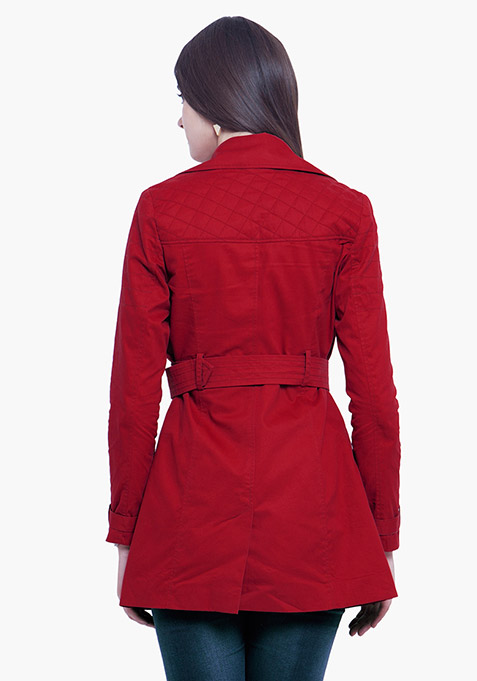 Classic Trench Coat - Red