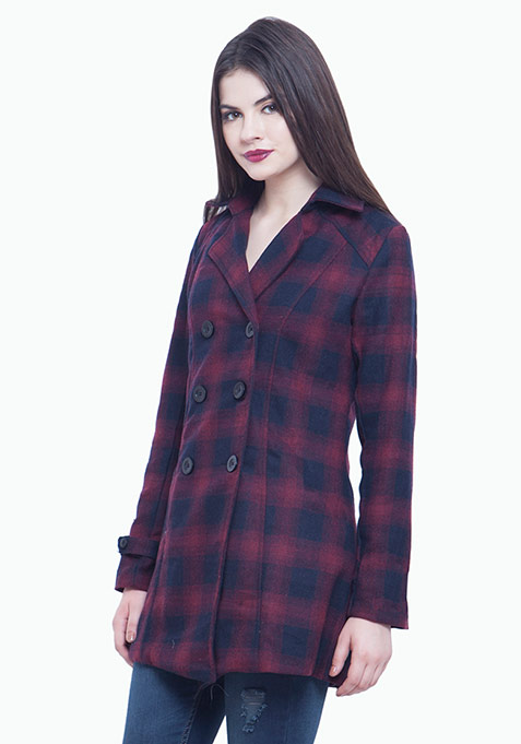 Classic Trench Coat - Red Tartan