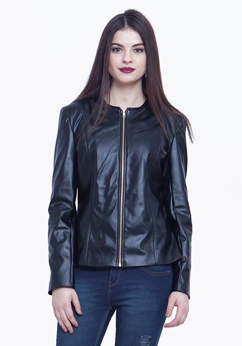 Leather Peplum Jacket - Black