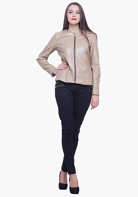 Leather Peplum Jacket - Beige