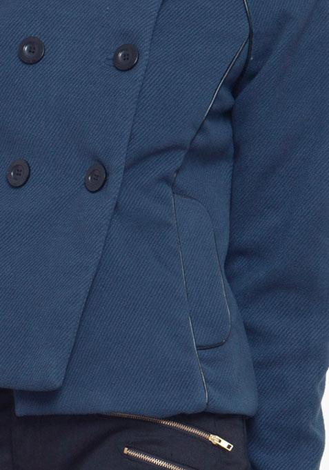 Short Double Breasted Coat - Navy
