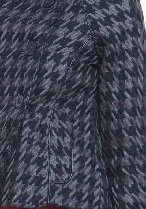 Short Double Breasted Coat - Dogtooth