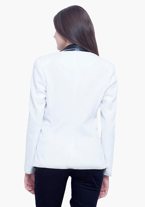Jacquard Blazer - White