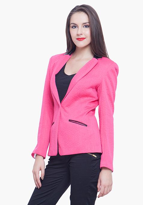 Jacquard Blazer - Pink