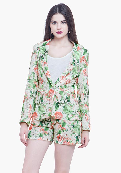 Fierce Floral Scuba Blazer - Light