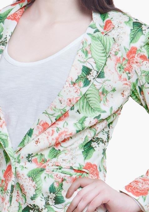 Fierce Floral Scuba Blazer - Light