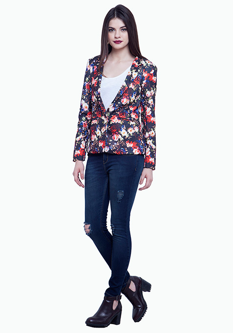 Fierce Floral Scuba Blazer - Black