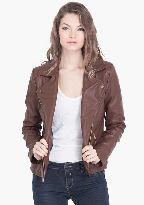 Leather Biker Chick Jacket - Brown