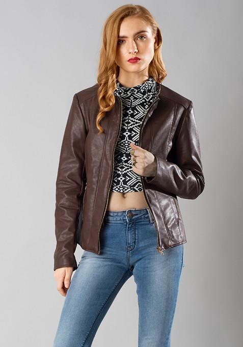Leather Front Zip Jacket - Brown
