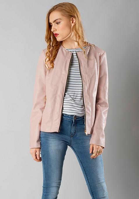 Leather Front Zip Jacket - Blush