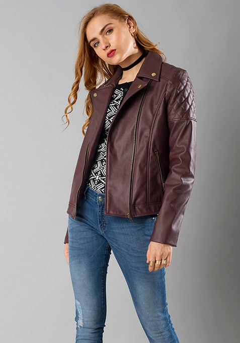 Quilted Leather Biker Jacket - Wine