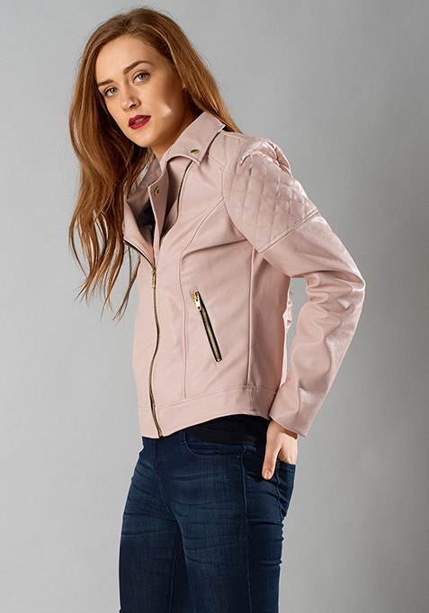 Quilted Leather Biker Jacket - Blush