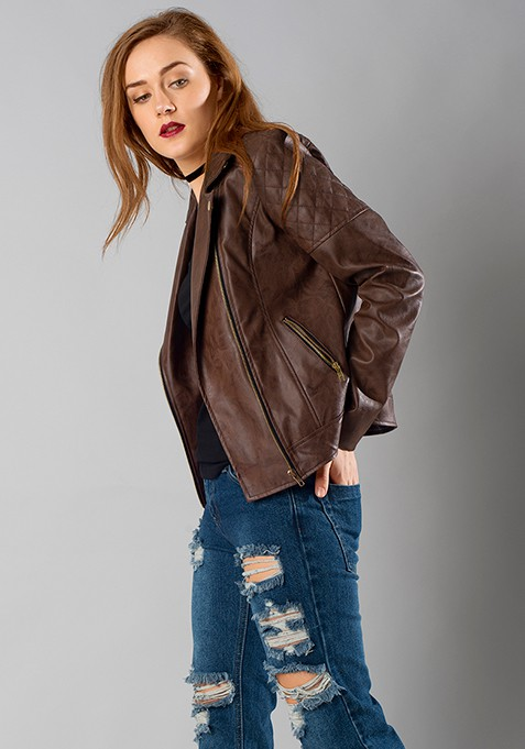 Quilted Leather Biker Jacket - Tan