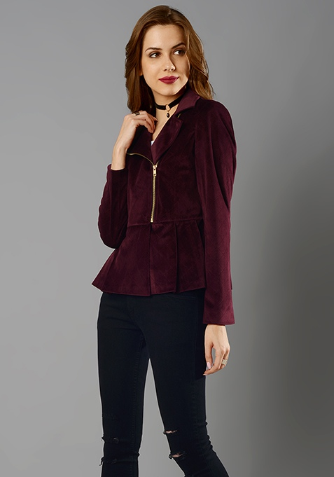 Peplum Velvet Jacket - Wine
