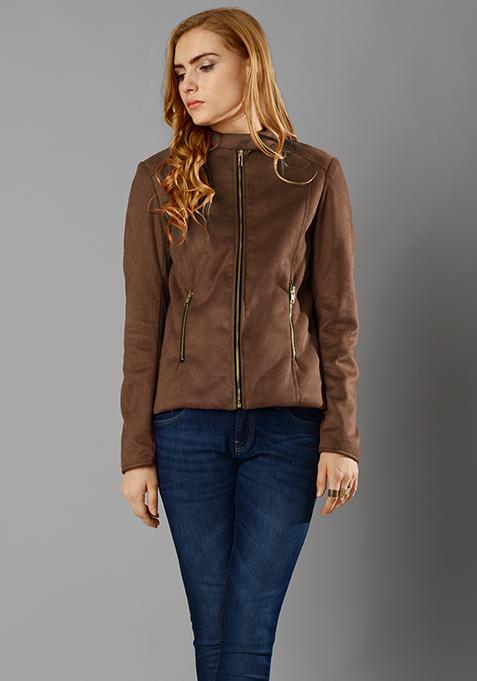 Suede Front Zip Jacket - Tan