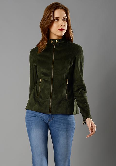 Suede Front Zip Jacket - Olive