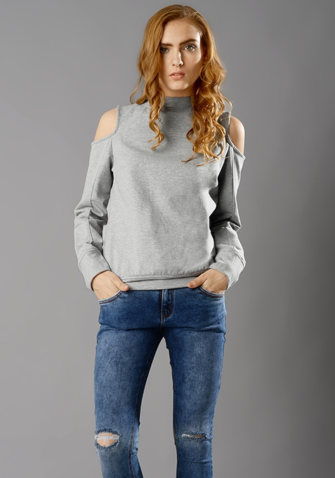 Cold Shoulder Sweatshirt - Grey