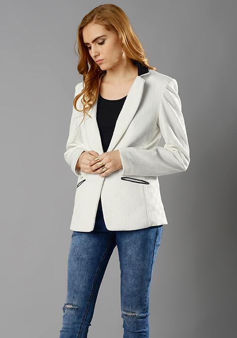 Haute Jacquard Blazer - White