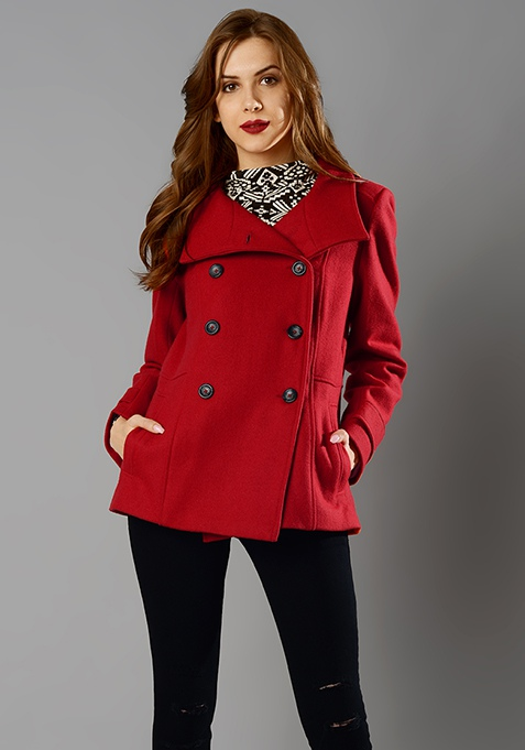 Pea Coat - Red