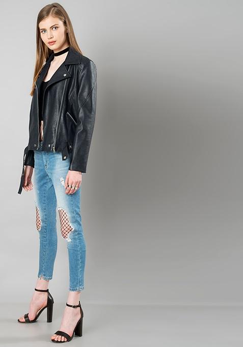 Belted Leather Biker Jacket - Navy