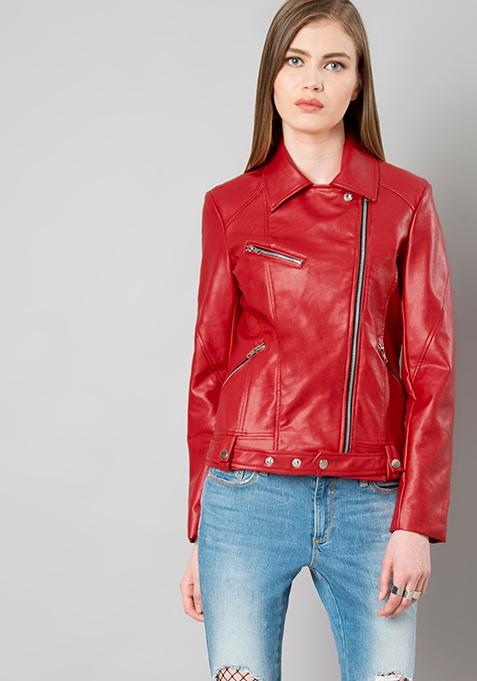 Belted Leather Biker Jacket - Red
