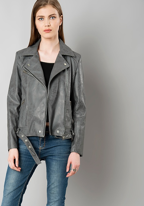 Belted Leather Biker Jacket - Grey