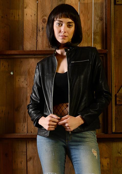 Snap Neck Leather Jacket - Black