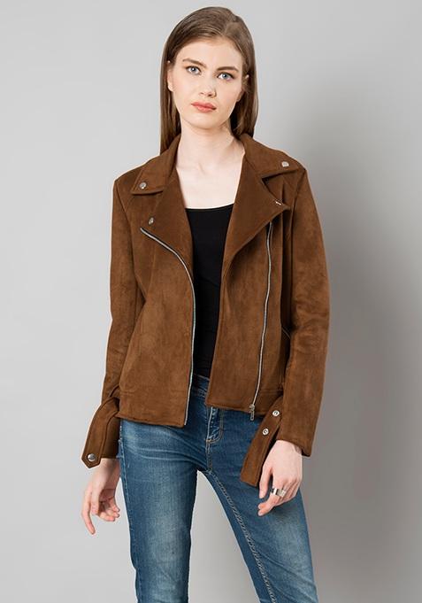 Belted Suede Biker Jacket - Brown