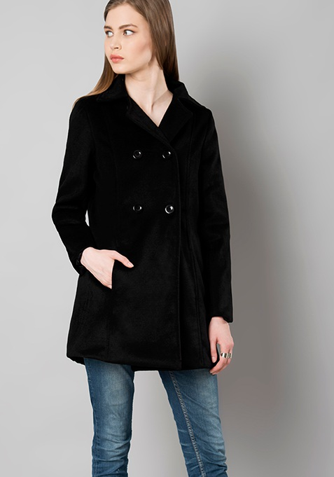Double Breasted Felt Trench Coat - Black