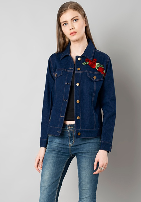 Embroidered Denim Jacket - Dark Wash