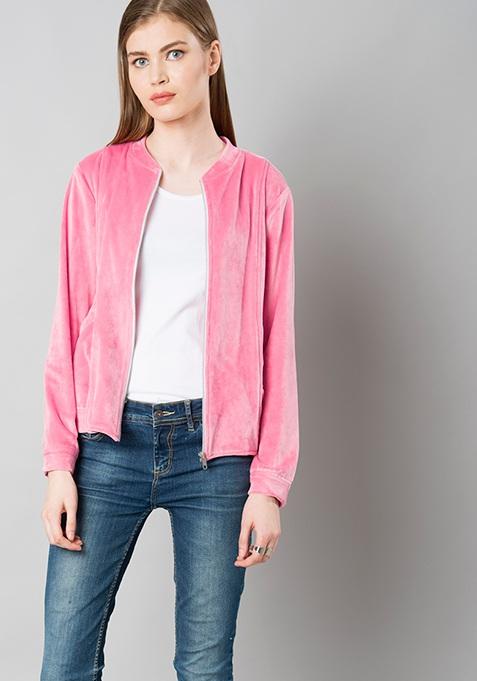 Zipped Velour Jacket - Pink