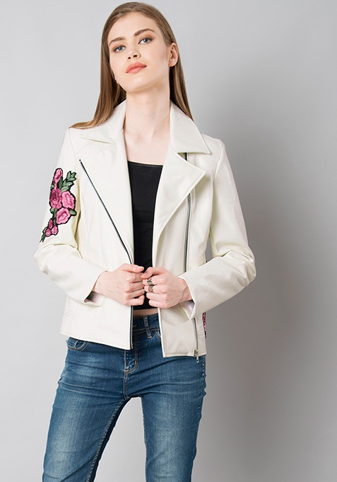 Embroidered Leather Biker Jacket - White
