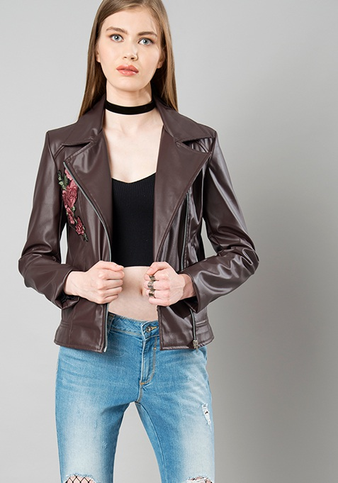 Embroidered Leather Biker Jacket - Brown