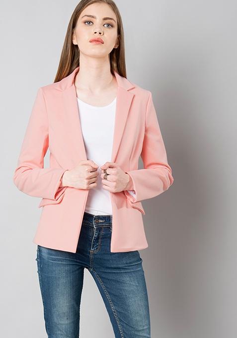 Notched Lapel Blazer - Pink