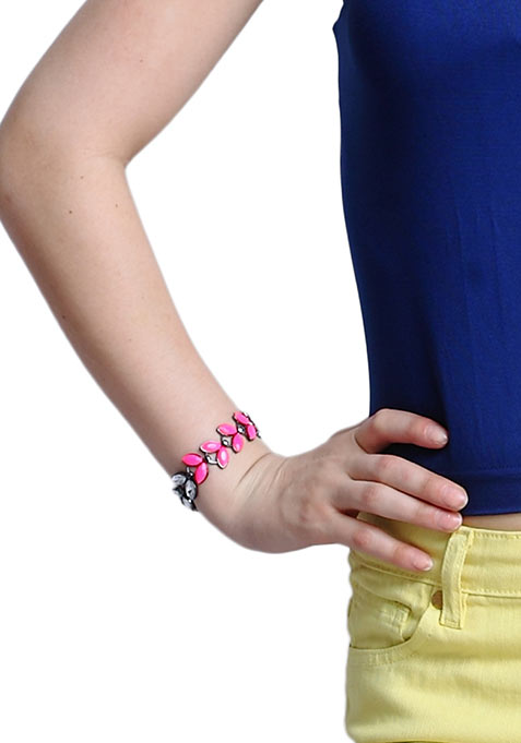 Neon Pink Jewelled Leaves Bracelet