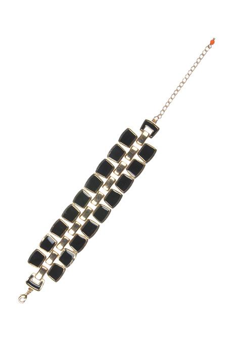 Black Squares Gold Bracelet