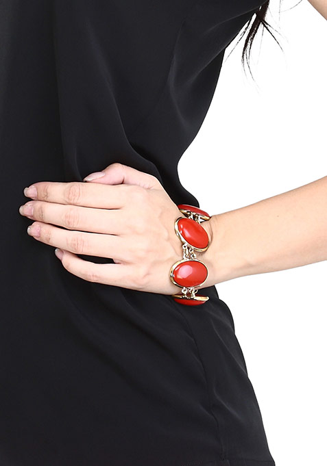 Red Oval Stones Bracelet
