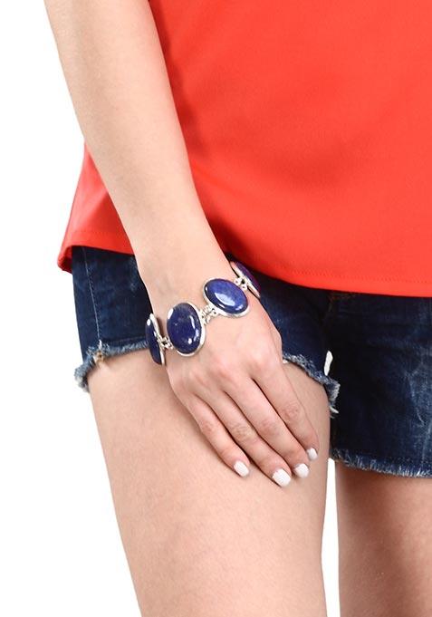 Navy Oval Stones Bracelet
